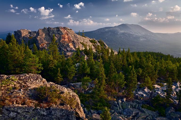 Ural Mountains with sunrise illumination, Iremel