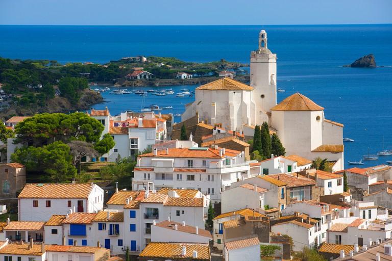 Cadaques, Spain, Europe, Catalonia, Costa Brava, sea, Mediterranean Sea, coast, village, houses, homes, church, boats