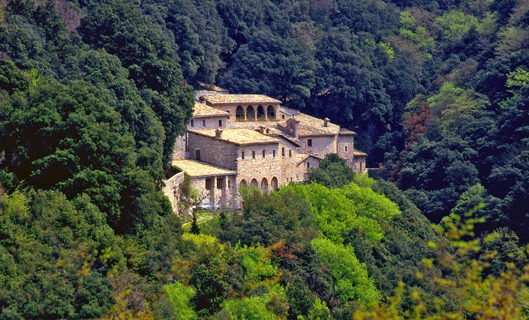The Eremo delle Carceri is a small hermitage in a steep forest gorge at the Monte Subasio, in Umbria, in middle Italy.