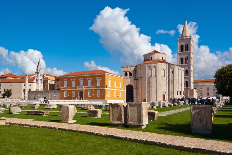 Center of Zadar, Croatia.Roman Forum with churche St. Donat and Cathedral of St. Anastasia