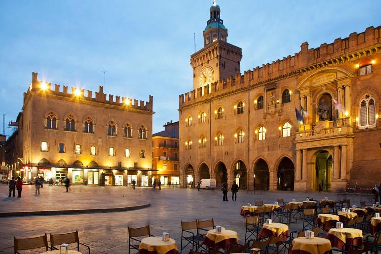 Arkade, Bogengang, Bologna, Emilia Romagna, Italien, Laube, Piazza, Piazza Maggiore, Platz
