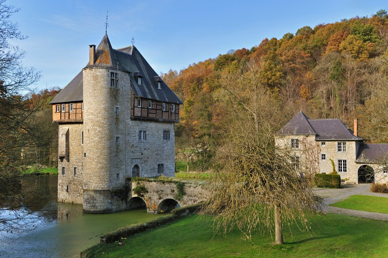 13th Century keep of Castle Carondelet at Crupet in the Belgian Ardennes, Namur, Wallonia, Belgium. Image shot 2011. Exact date unknown.