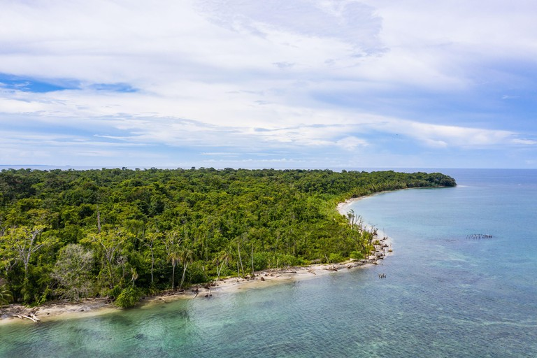 Aerial view of Cahuita National Park along the southern Caribbean coast of Costa Rica.