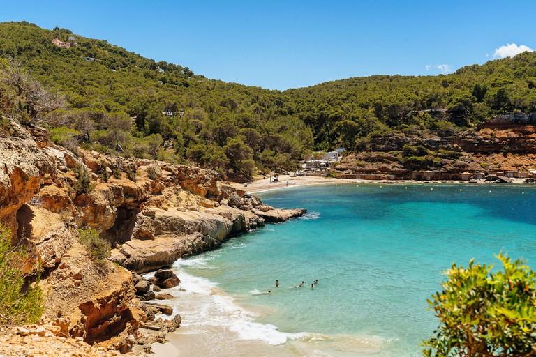 Cala Salada and Saladeta mediterranean idyllic beach in Ibiza_2C25873
