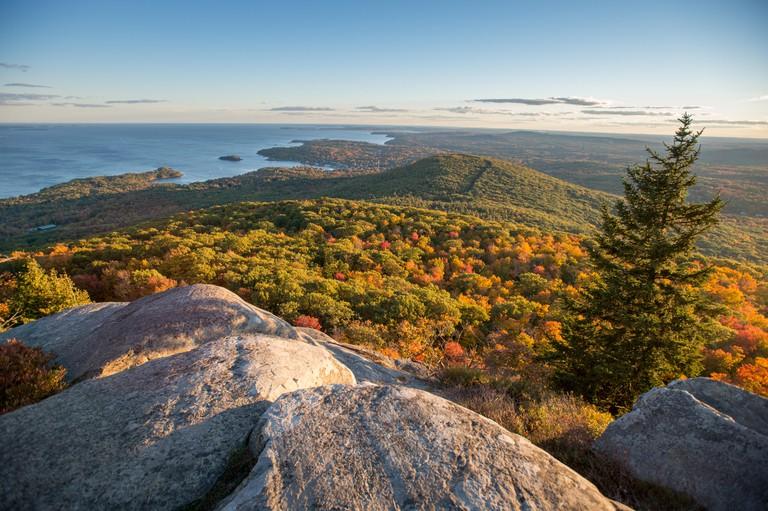 Landscape of Camden Hills State Park in Camden, Maine.