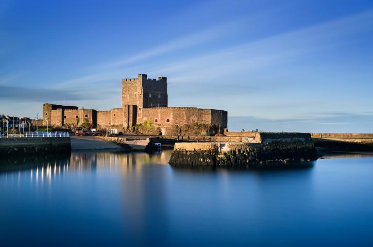 Carrickfergus Castle and harbour on Belfast Lough County Antrim coast Northern Ireland