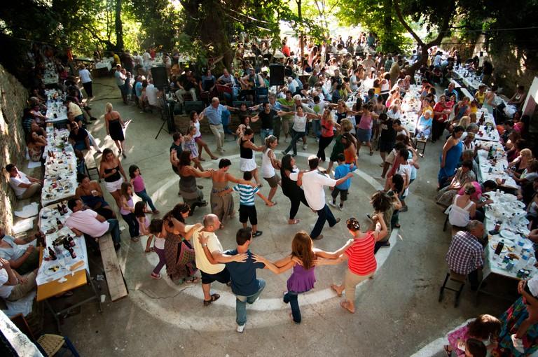 Greek folk dancing at a Panegyri on the Aegean island of Ikaria, to celebrate 15th August