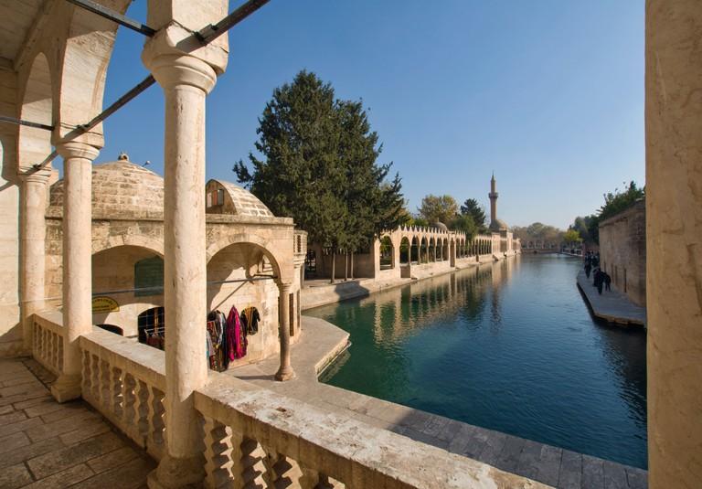 Pool of Abraham or Balikli Gol and Halil ur Rahman Mosque in Sanliurfa or Urfa, Turkey