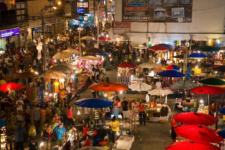 Market stalls at the Sunday Market Walking Street. Chiang Mai, Chiang Mai, Thailand