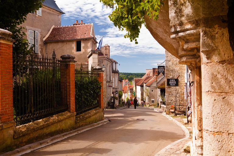 Looking down the main street in the medieval town of Vezelay in Burgundy. The town is a UNESCO world heritage site.