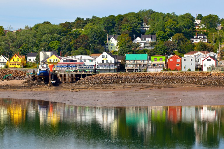 Main street reflected in harbour, Digby, Bay of Fundy, Nova Scotia, Canada