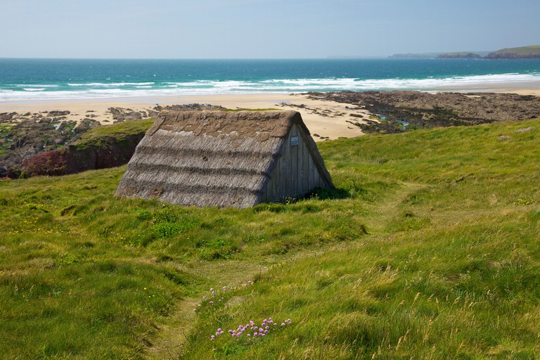 Seaweed drying hut, Freshwater West beach, Pembrokeshire National Park, Wales, United Kingdom, Europe