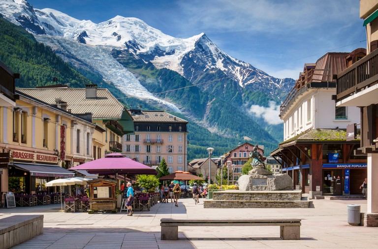 Mont Blanc above Chamonix town center, French Alps, France, Europe in summer