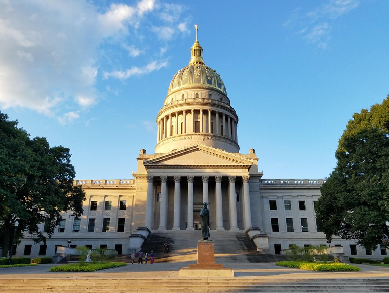 Capitol building in Charleston, West Virginia, on a sunny autumn afternoon.