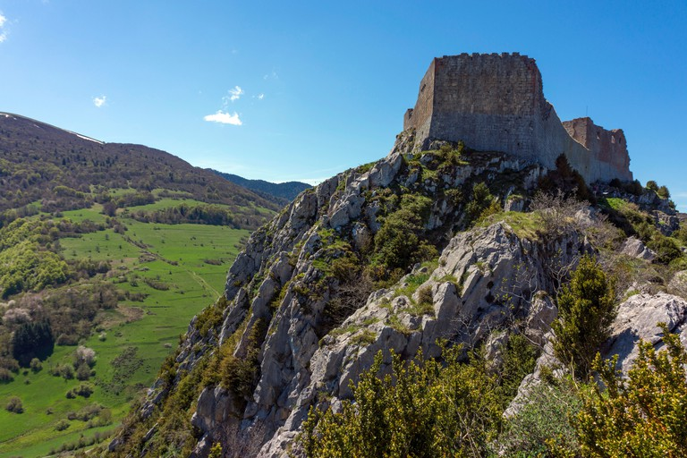 Montsegur Cathar castle, Ariege, French Pyrenees, France. Image shot 04/2013. Exact date unknown.