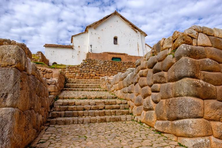 Colonial church, Chinchero archaeological site, Inca ruins, Inca wall, Sacred Valley, Peru