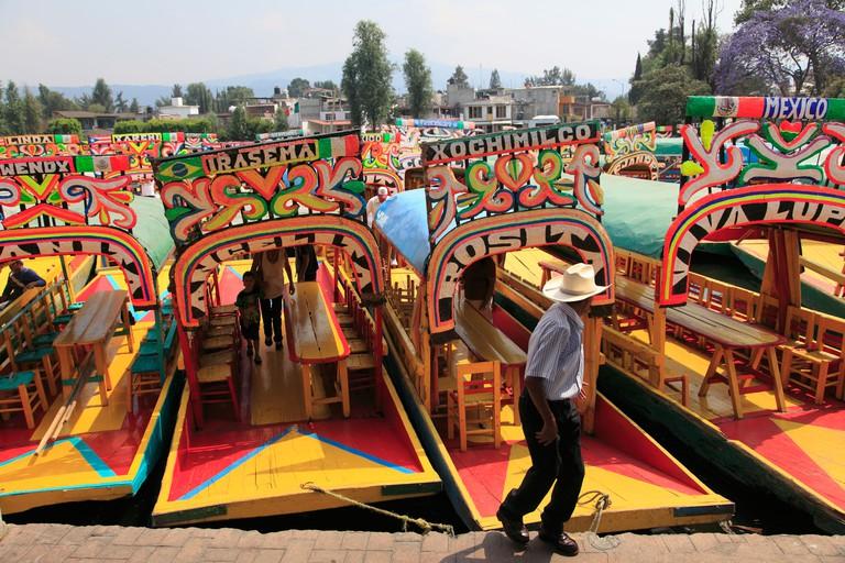 Brightly painted boats, Xochimilco, Trajinera, Floating Gardens, Canals, Mexico City, Mexico, North America