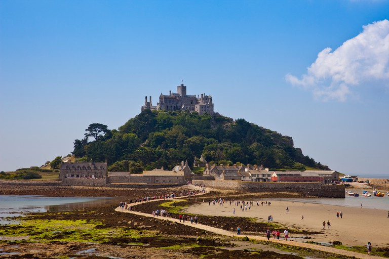 The stone tidal causeway leading to St Michael's Mount in Mount's Bay at Marazion Cornwall England UK. Image shot 07/2011. Exact date unknown.