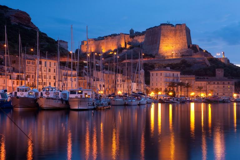the harbour and Citadel at night, Bonifacio, Corsica, France