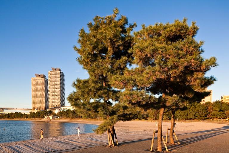 Japan, Honshu Island, Tokyo, Odaiba Seaside Park, artificial beach
