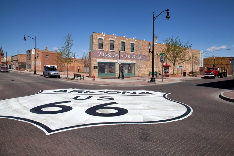 "Standin' on the Corner Park in Winslow Arizona pays tribute to the Jackson Browne  and Glenn Frey song ""Take it Easy"""