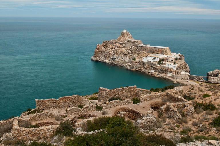 the Spanish El Penon de Velez de la Gomera fort isle off the Mediterranean Coast in Al Hoceima National Park, Morocco