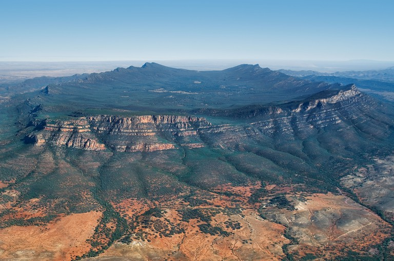 Aerial of Wilpena Pound in the Flinders Ranges National Park.