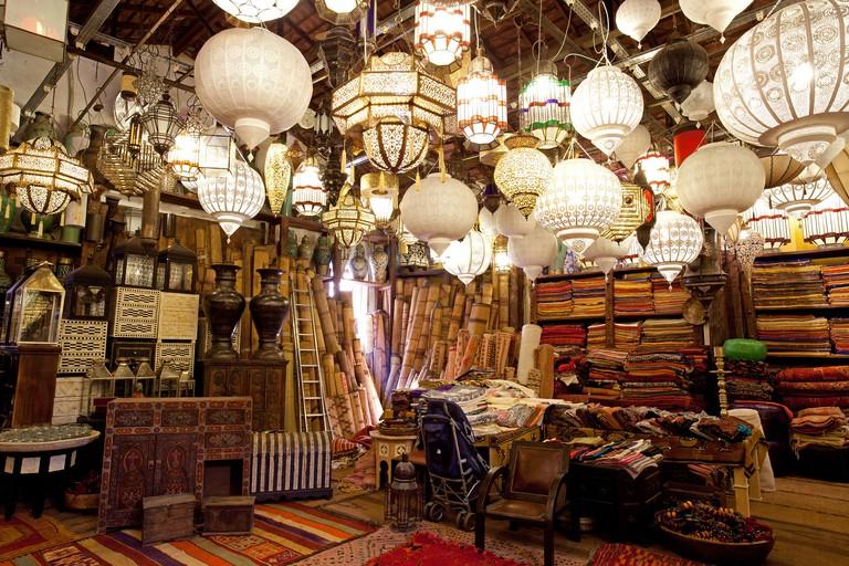 Mustapha Blaoui carpet craft shop Medina Marrakesh Morocco. Image shot 2012. Exact date unknown.