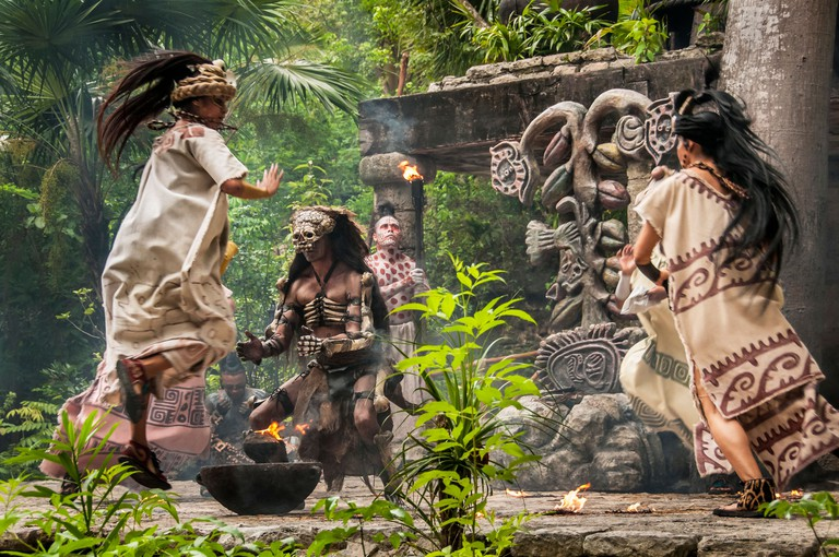 "Maya culture performance ""Los Rostros de Ek chuah"", honoring the Mayan God of Cacao, at Xcaret park, Riviera Maya, Mexico."