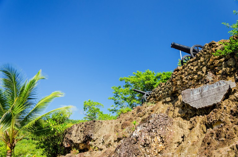 Ruins of Fort Warwick in San Andres y Providencia, Colombia