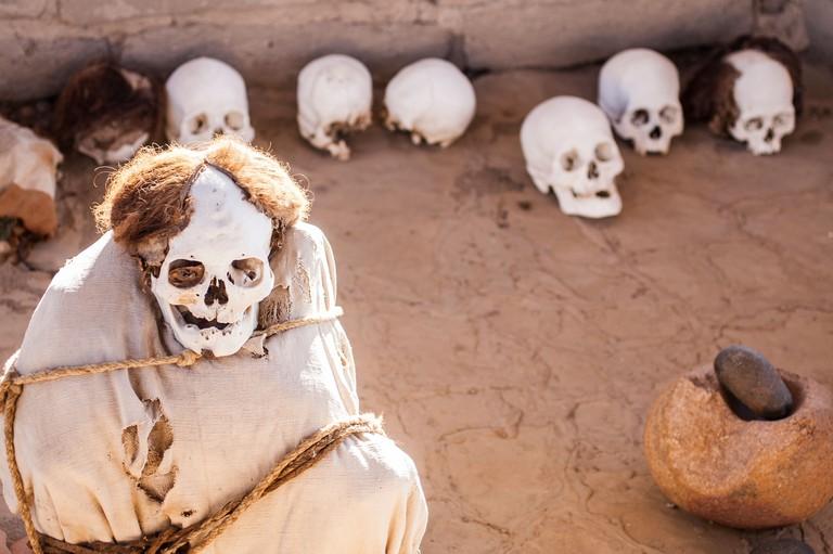 Mummy at Chauchilla Cemetery (Cementerio de Chauchilla), discovered in the 1920s.
