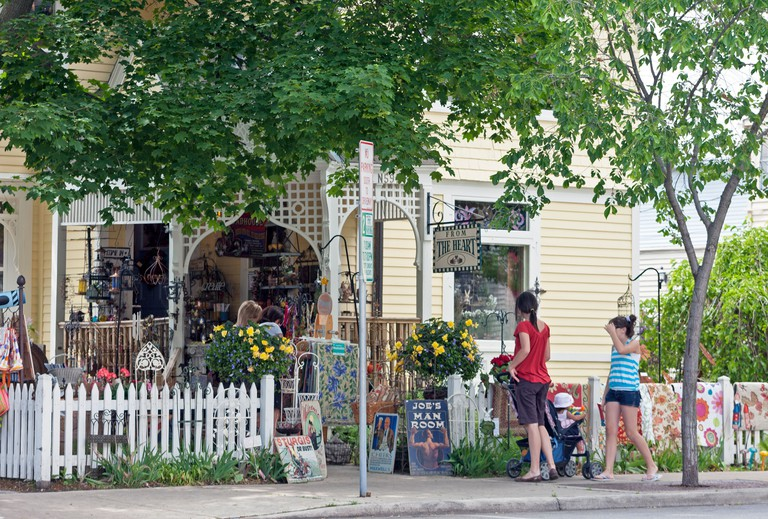 People  browse at a gift shop in Cedarburg, Wisconsin.