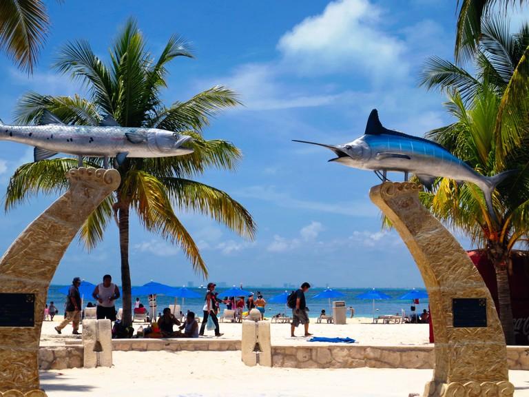 Entrance Gate with Fish Sculptures, Playa Norte, Isla Mujeres, Yucatan, Mexico