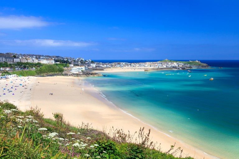 View overlooking Porthminster Beach St Ives Cornwall England UK