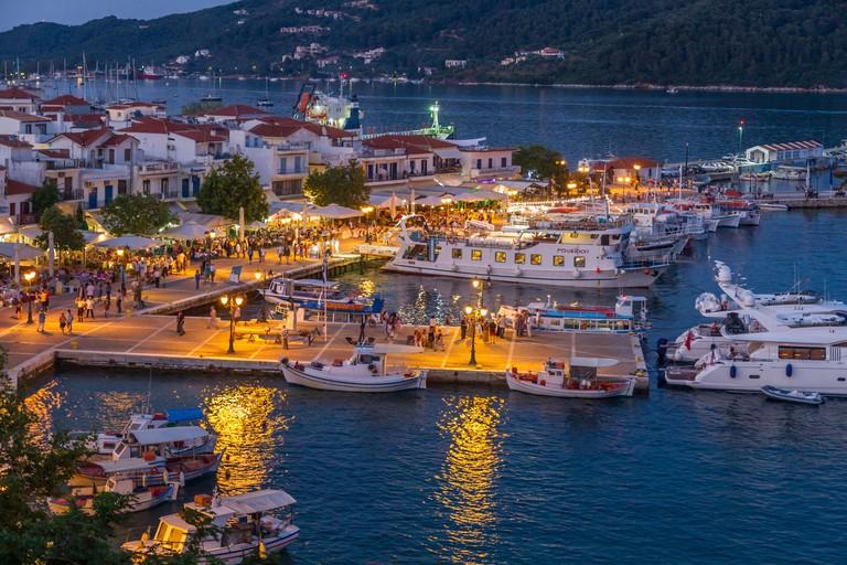 Greece, Sporades, Skiathos town harbour at night