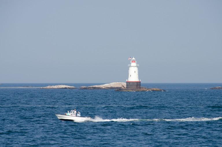 Rhode Island, Little Compton, Sakonnet River. Sakonnet Point Light aka West Island Light.