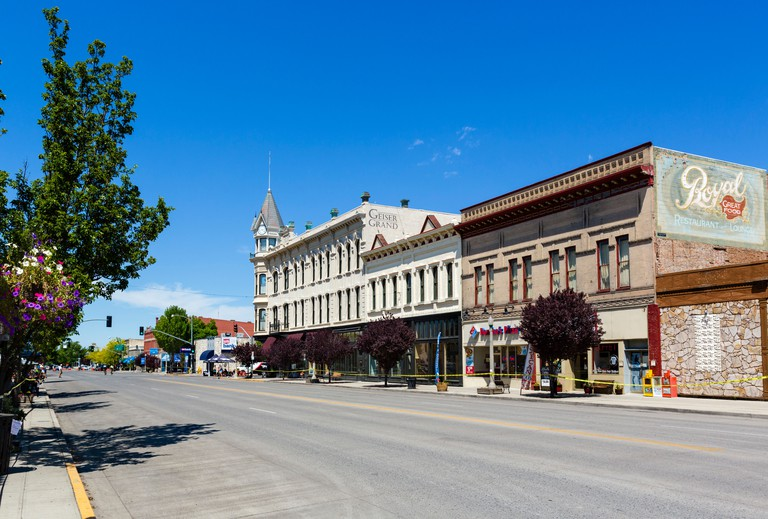 The historic Geiser Grand Hotel on Main Street in downtown Baker, Oregon, USA