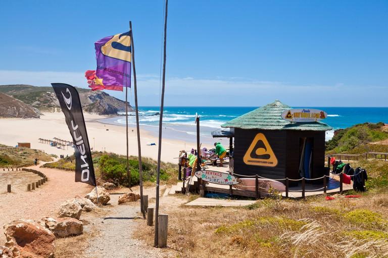 surf shop above Amado beach costa vincentina national park west Algarve coast Portugal Europe EU