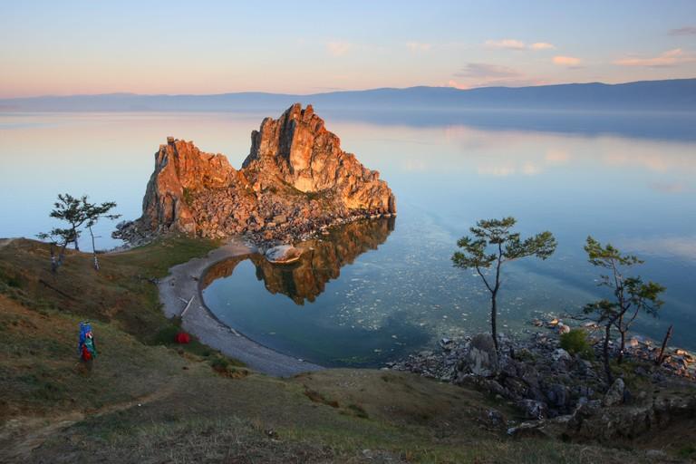 "Mountain ""Shamanka"", Burkhan Cape, one of the nine most sacred places in Asia on Olkhon Island on Lake Baikal in Siberia Russia"