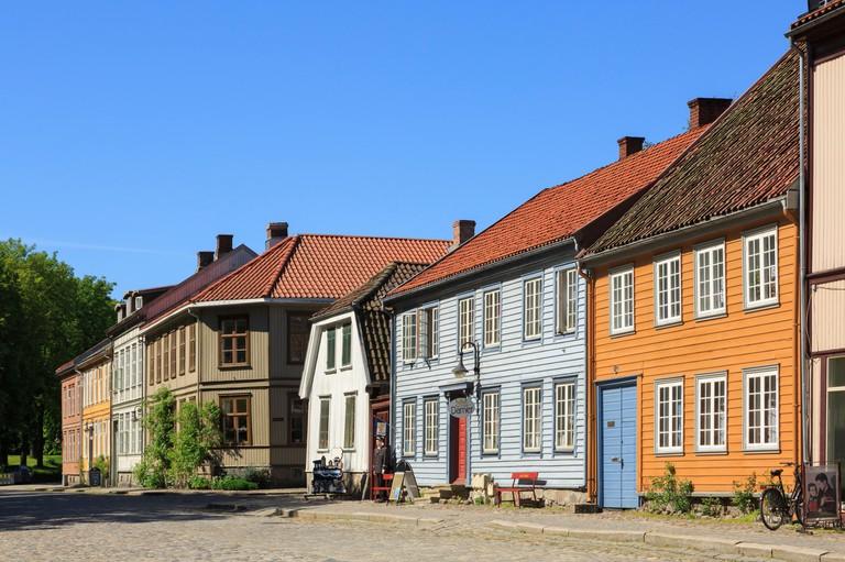Traditional historic wooden buildings on Voldgarten in old town of Gamlebyen, Fredrikstad, Ostfold, Norway, Scandinavia