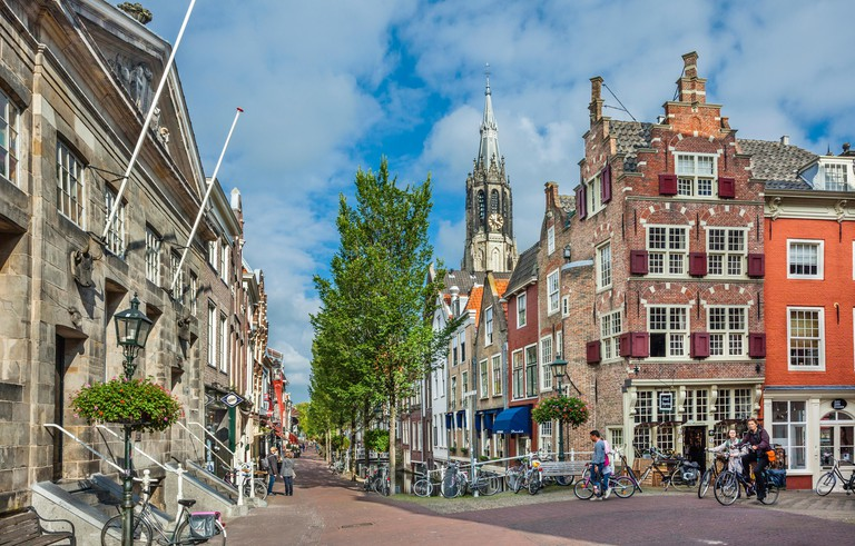 Netherlands, South Holland, Delft, Voldersgracht and Vleeshall (Meat Hall)