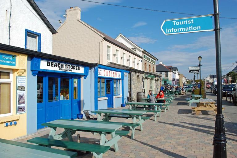 Shops and restaurants in seaside village of Strandhill, County Sligo, Ireland.