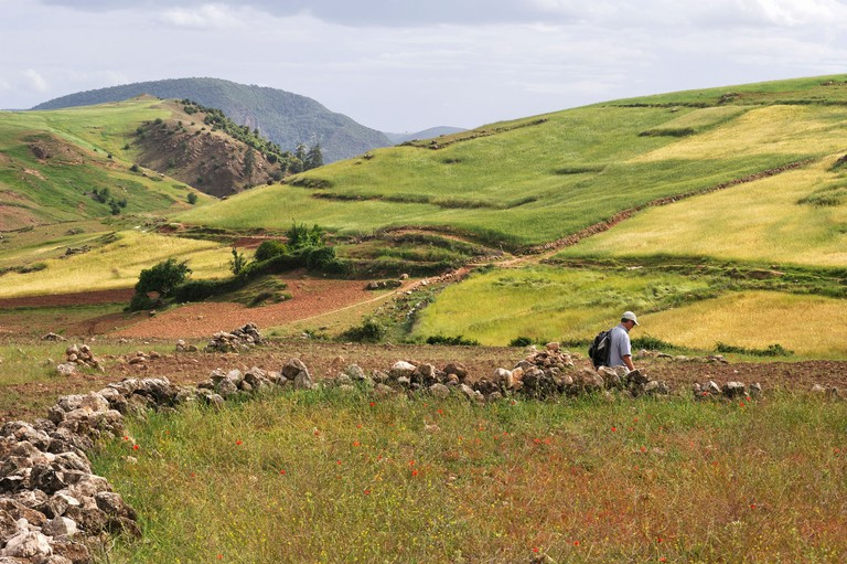 hikers in countryside Khenifra region, Middle Atlas, Morocco, North Africa