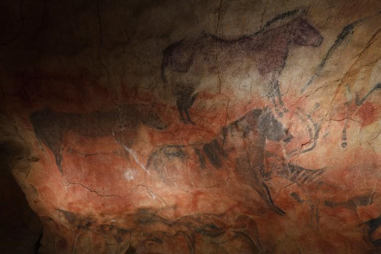 Horses, prehistoric painting, cave painting, about 15000 BC, Cueva de Tito Bustillo, cave near Ribadesella, replica, Parque de l