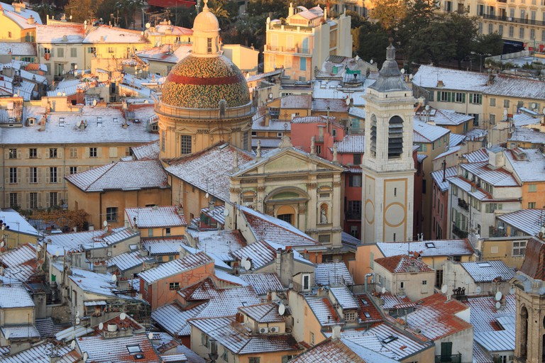 Old city in Nice and the Sainte Reparate Cathedral Alpes-Maritimes