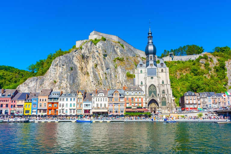 DINANT, BELGIUM, 21 JULY 2020: Belgian town of Dinant built under a mountain and over a river - 2E11TXR