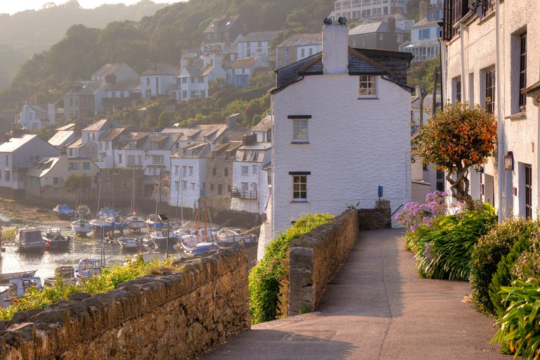 Pretty cottages at Polperro, Cornwall, England.