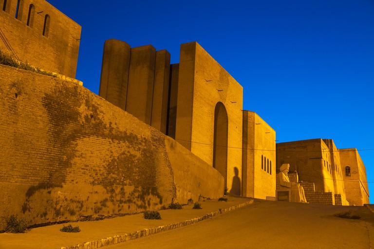 Statue of Mubarak Ben Ahmed Sharaf-Aldin at the main entrance to The Citadel, Erbil, Kurdistan, Iraq, Middle East
