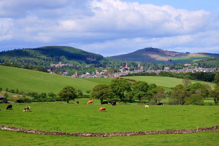 Countryside view towards he town of crieff in perthshire.scotland