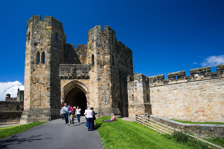 Entrance to Alnwick Castle, Lion Arch, where Harry Potter was filmed